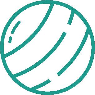 ikon föreställande en boll som symboliserar friends utbildningar för idrottsföreningar.