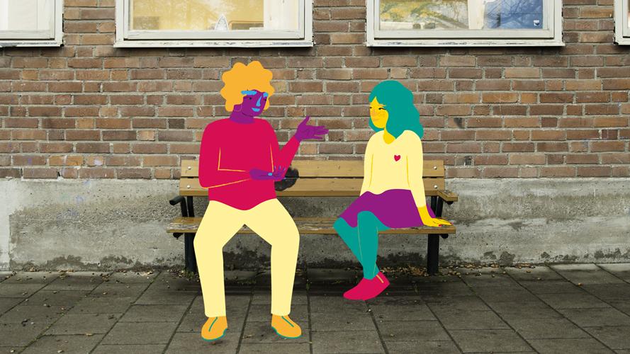 illustration av två personer på en skolgård som pratar