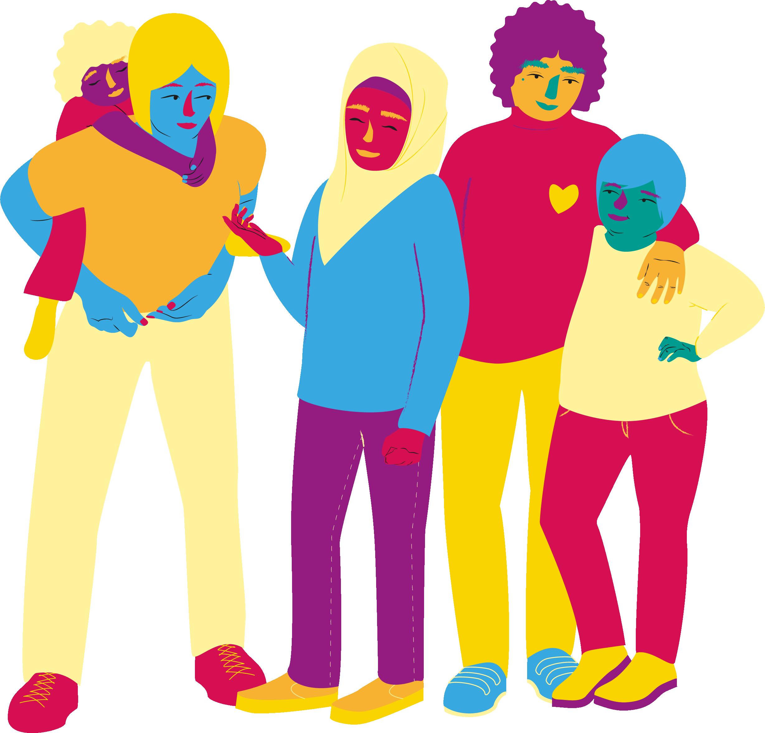 färgglad illustration av ett antal vuxna och barn