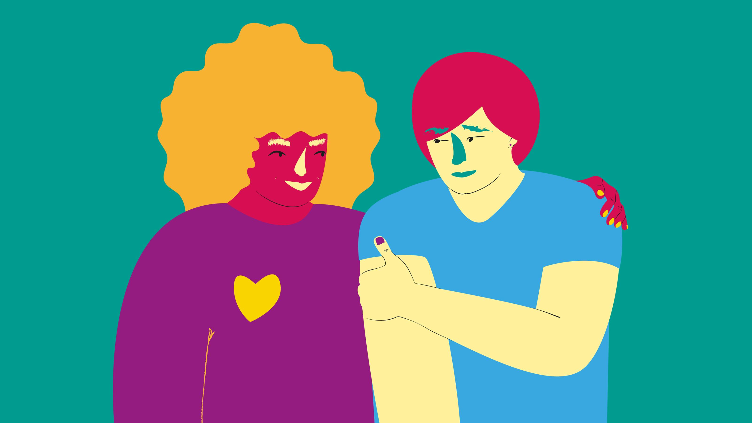 illustration avv två personer där den ena har ett friends-hjärta på tröjan.