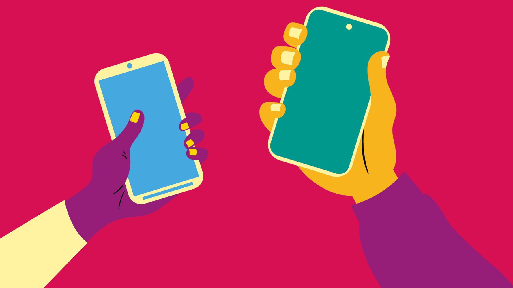illustration av två två händer som håller varsin mobiltelefon