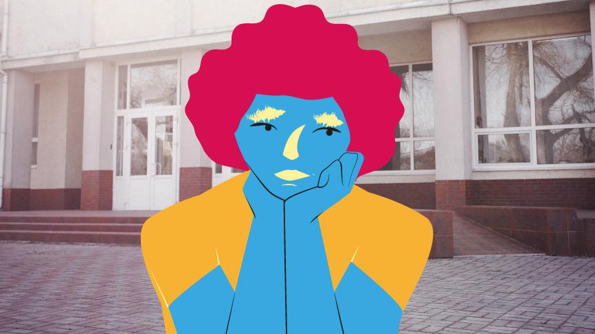 illustration av ett barn framför en skola