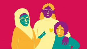en färgglad illustration av tre personer