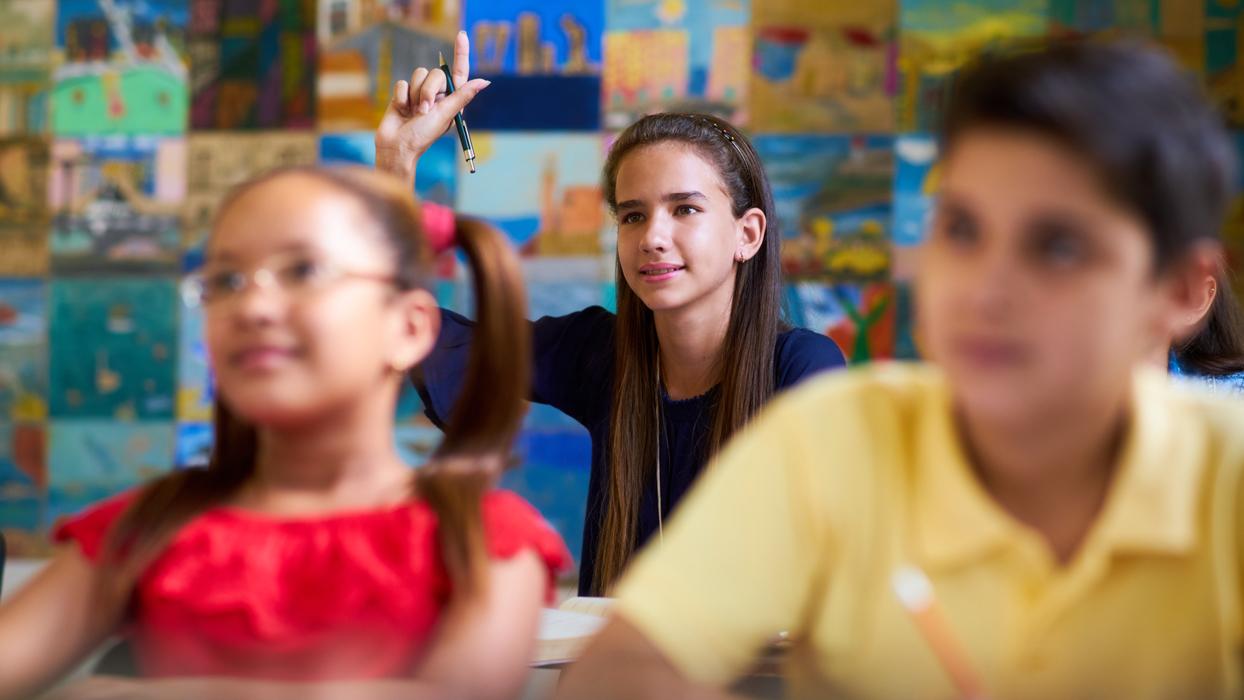 En flicka räcker upp handen i klassrummet i en skola