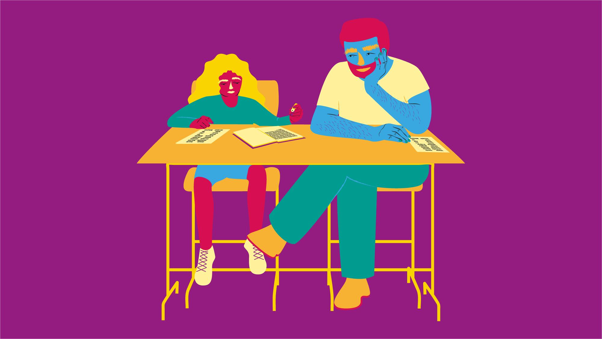 illustration av en lärare som pratar med en elev