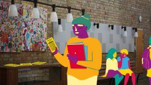 illustration av en elev som läser på ett flygblad