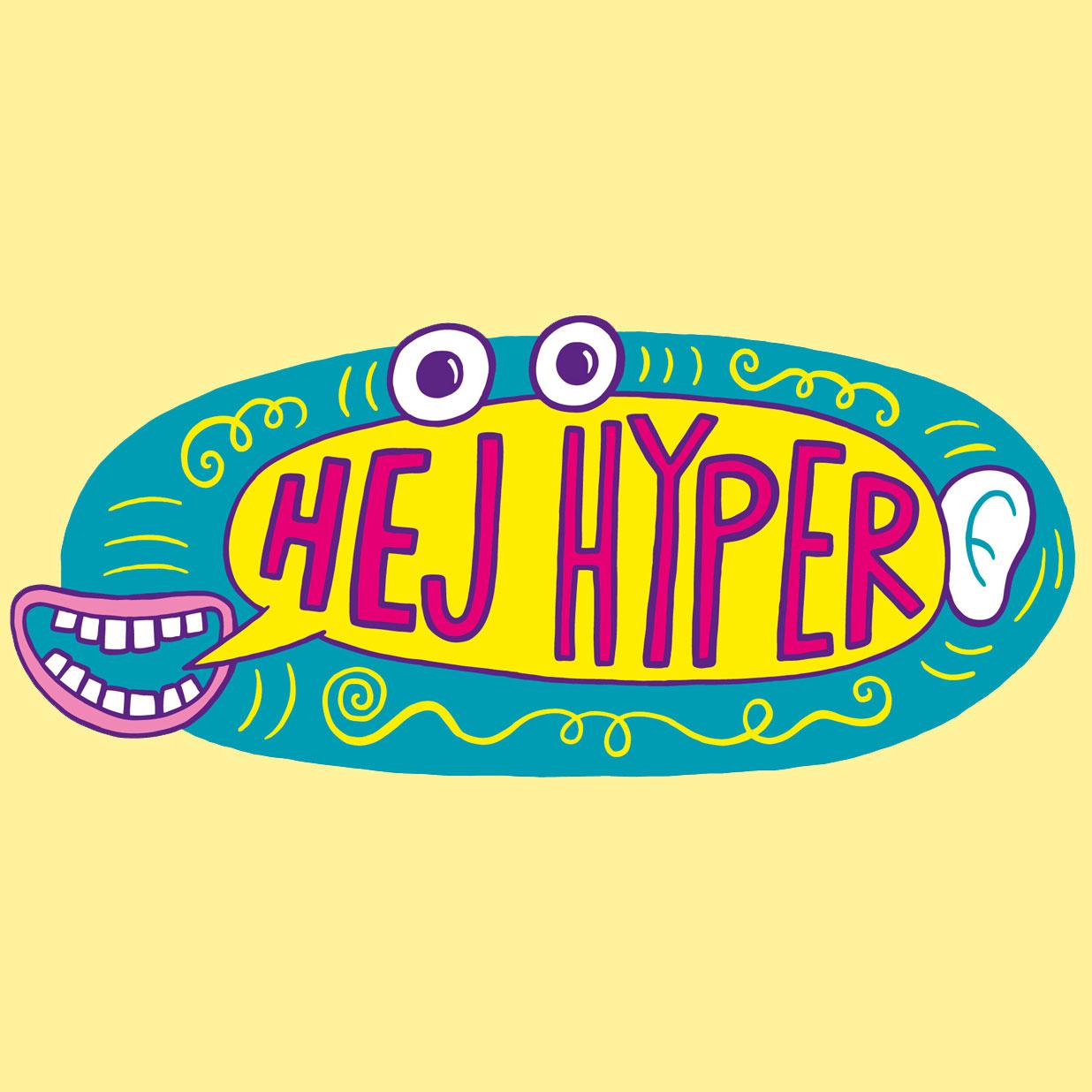 Illustration av logotypen för Friends och Hjärnfondens projekt Hej Hyper
