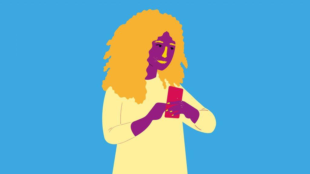 illustration av en flicka som håller en mobiltelefon i handen