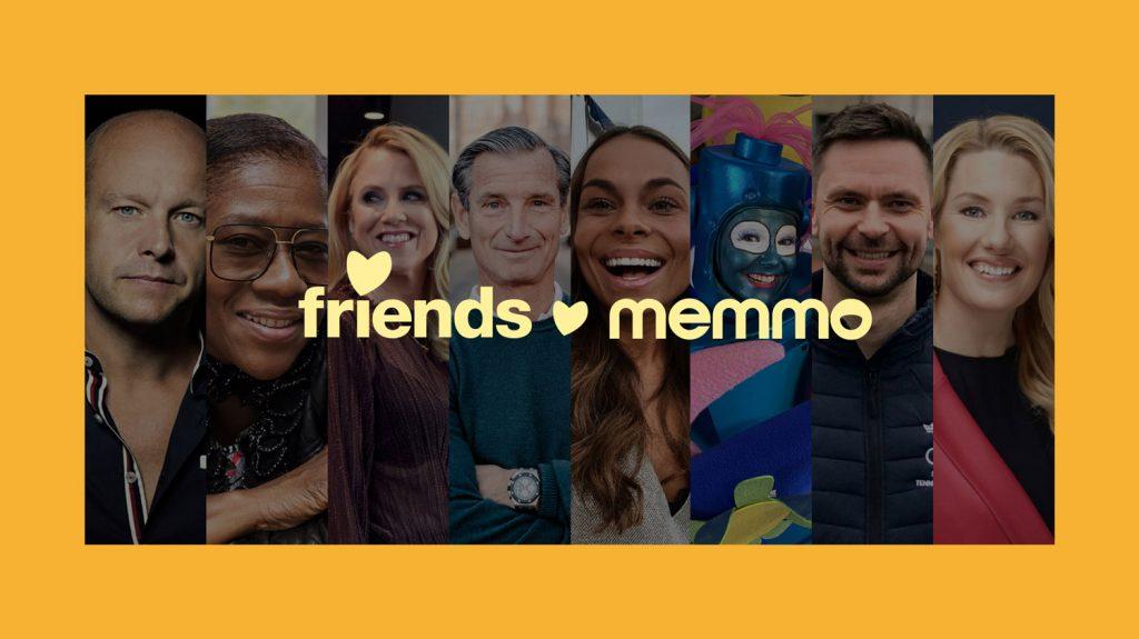 bild på kända profiler som stöttar friends i en kampanj med memmo