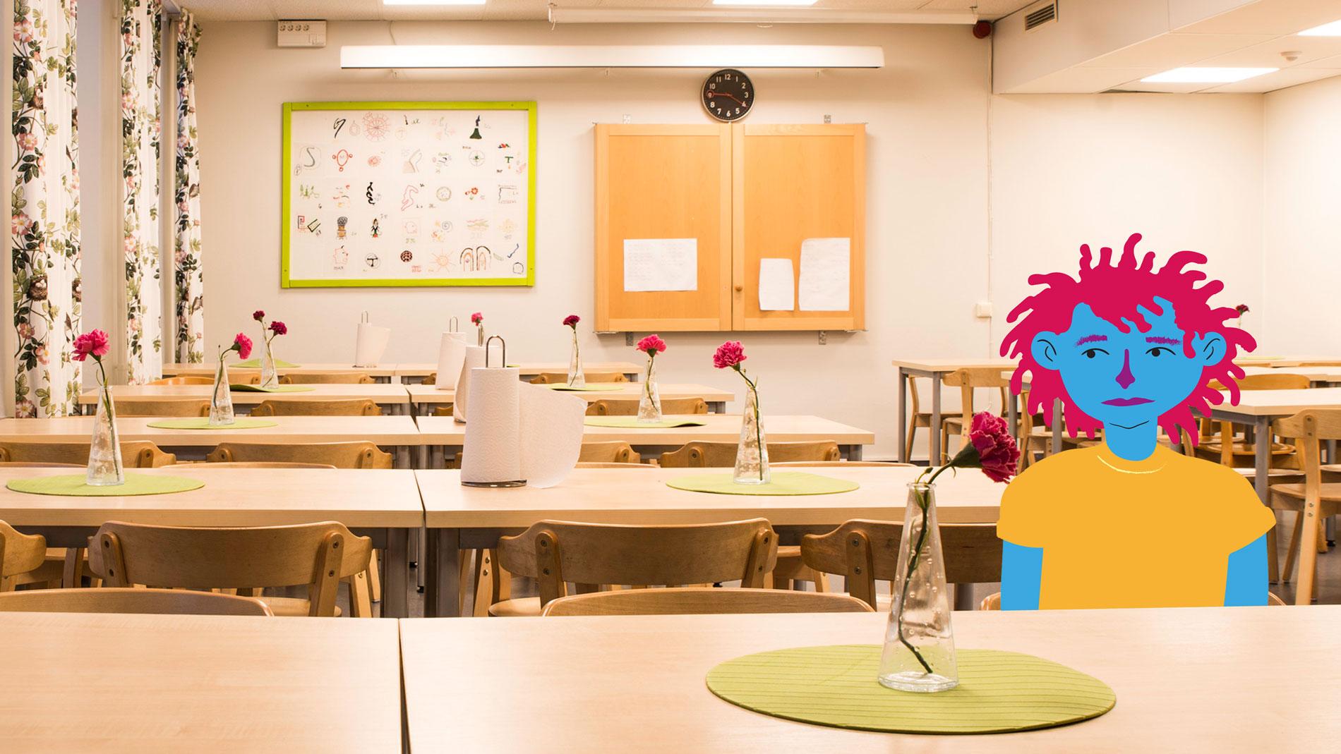 illustration av ett barn som sitter ensam i en skolmatsal.