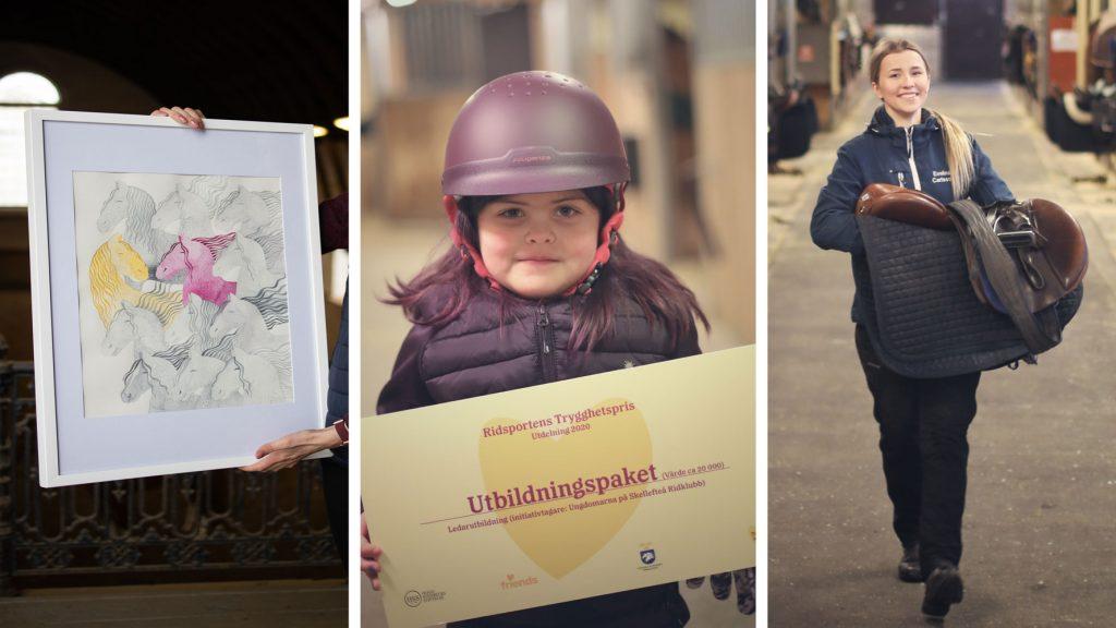 Kollage på medlemmar i Skellefteå Ridklubbs ungdomar som fått Ridsportens Trygghetspris